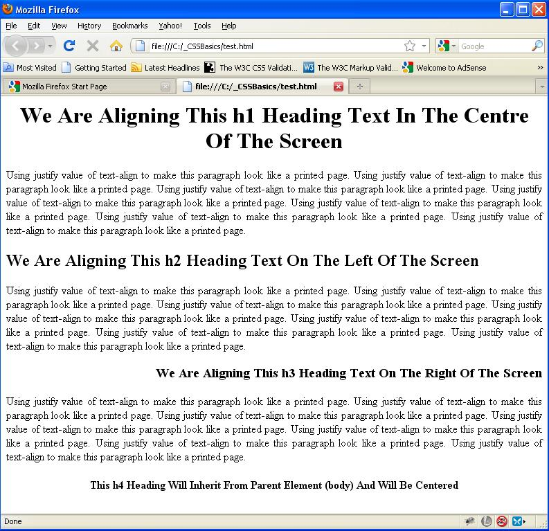 Css text text align css property for Html table text align